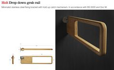 Holt wooden drop down rail for disabled toilets. Designed by Alex Mowat. Manufactured by Allgood.