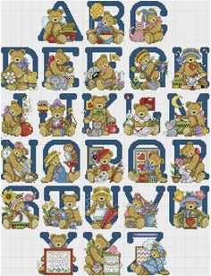 Cross stitch Teddy Bears Alphabet Sampler by Joan Elliot