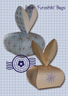 free pdf,svg,tutorial. Furoshiki puffy boxes ideal as bunny boxes for Easter treats or party favours. The Papercraft Post