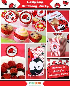 Ladybug Birthday Download - Ladybug Party Decorations by PixieBearParty on Etsy, $29.00