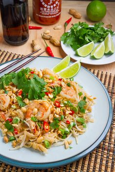 Spicy Peanut Sauce Pad Thai  'Pad Thai' fried noodles and shrimp is a spicy peanut sauce.