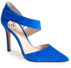 $128, Blue Cutout Suede Pumps: Vince Camuto Carlotte Pointy Toe Pump. Sold by Nordstrom. Click for more info: https://lookastic.com/women/shop_items/152256/redirect