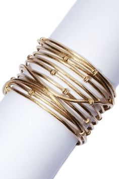 18K Gold Clad Wrapped Knotted Mina Cuff