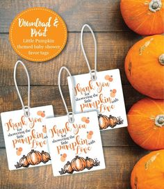 Little Pumpkin Baby Shower Favor Tag | Instantly Download and Print | Thank You Baby Shower Gift