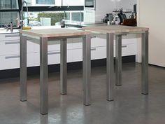 No Rust Bartafel RVS onderstel met topblad in massief eiken - Designsales.nl