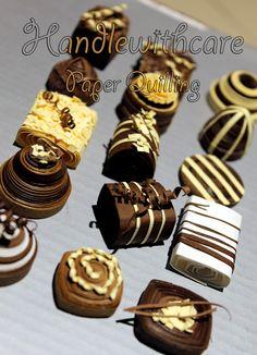 Sweet quilled chocolates - paper  quilling - cioccolatini di carta