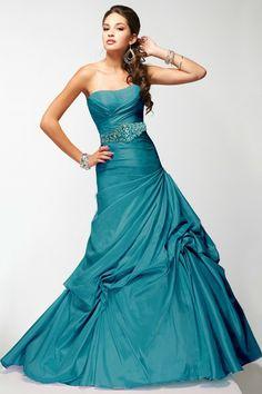 BallGown Strapless Satin Floor-length Hunter Quinceanera Dress at sweetquinceaneradress.com