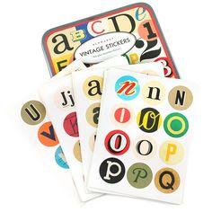 Vintage alphabet stickers