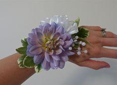 Unique lavendar wrist corsage. Dahlia. Justaddflowers.net