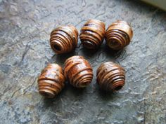 NEW listing! :) Six small brown birch bark wood beads 9 to 10mm length, $12.00