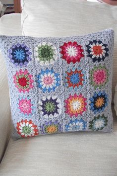grey 'circles in a square' retro cushion cover by my little red suitcase, via Flickr