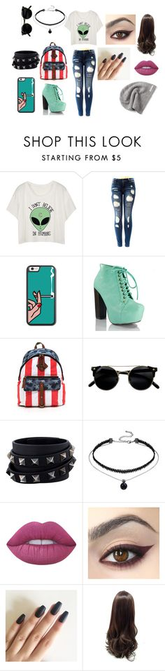 """""""Sem título #8"""" by bruuhwey ❤ liked on Polyvore featuring Valentino, Lime Crime and Converse"""