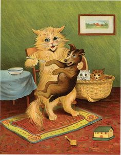 Louis Wain illustration from his In Animal Land Elmo, Louis Wain Cats, Love Your Pet Day, Creepy Cat, Dog Books, Red Cat, Cat Valentine, Cat Drawing, Cat Breeds