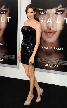 Angelina Jolie Peep Toe Pumps - Angelina paired her sparkling LBD with nude, peep toe pumps.