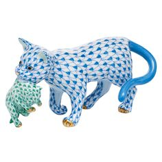Herend Hand Painted Porcelain Figurine of Mother Cat Walking Carrying Kitten in her Mouth. Mother is Done in the Blue Fishnet Design and the Baby in Green, Gold Accents.