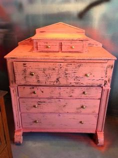 Antique Coral Distressed Dresser $575 - Chicago http://furnishly.com/catalog/product/view/id/4004/s/antique-coral-distressed-dresser/