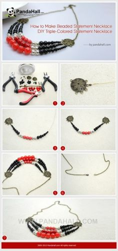 How to Make Beaded Statement Necklace - DIY ...   Jewelry Making Tuto�� by wanting