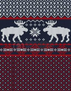 Knitted background with Christmas deers and snowflake photo