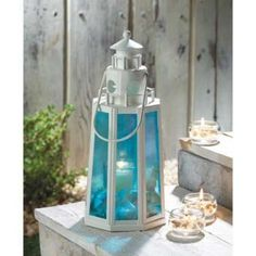 10 Ocean Blue Lighthouse Lanterns Beach Wedding Centerpieces and Decorations - Affordable Elegance Bridal -