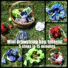 Creating my way to Success: Mini drawstring bag tutorial - 5 steps in 15 minutes