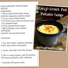 Easy Crock Pot Potato Soup DMR: Frozen hash browns, cream cheese...low for five hours...definitely trying this for Crock Pot Wednesday this year!