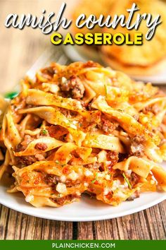 Amish Country Casserole - comfort food at its best!! Hamburger, Tomato soup, cream of mushroom, onion, garlic, milk, Worcestershire sauce, egg noodles and parmesan cheese. SO simple and tastes amazing! Everyone cleaned their plate!!! Makes a great freezer meal for an easy weeknight dinner. Casserole Recipes, Crockpot Recipes, Chicken Recipes, Cooking Recipes, Hamburger Recipes, Hamburger Casserole, Rice Casserole, Chicken Meals, Oven Recipes