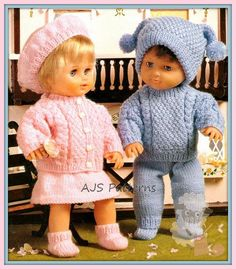 """PDF Knitting Pattern - Boy/Girl Dolls Clothes Sets to Fit Baby Dolls of 12-22"""" & Premature Babies."""