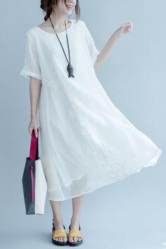 White Embroidered Silk Linen Long Summer Dresses Women Clothing Q3105