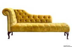 Paloma Velvet Gold Chaise Lounge - The luxurious and stunning Paloma chaise lounge is a real statement piece. Hand crafted in the heart of England and upholstered in velvet to provide a modern take on this classical chesterfield design. The Palona chaise lounge can can transform any living room.