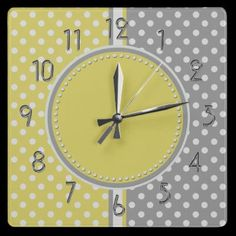 Yellow and Gray Polka Dots Square Clock by hhtrendyhome