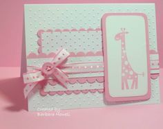 handmade card for a baby girl ... white and pink ... giraffe ... buttons ... bow ... polka dots ...