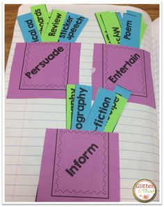 Interactive notebook sort for author's purpose. Tips and tricks for interactive notebooks. Reading Lessons, Reading Activities, Reading Skills, Teaching Reading, Teaching Ideas, Primary Teaching, Reading Groups, 4th Grade Writing, Third Grade Reading