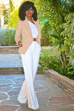 DB Blazer + One Shoulder Top + Wide Leg Trousers