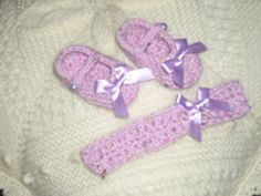 Crochet Baby Booties with matching Headband by TheKnittingNannieGB