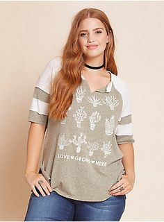 """Love grows here"" on this tee. Just add water. And sunlight. And a super soft and lightweight olive knit. And striped white raglan sleeves. And adorable - never prickly - cacti graphics that will never grow apart. And slightly split sides that will give you some air.<div><br></div><div><b>Model is 5'9"", size 1<br></b><div><ul><li style=""LIST-STYLE-POSITION: outside !important; LIST-STYLE-TYPE: disc !important"">Size 1 measures 29 3/4"" from shoulder</li><li style=""LIST-STYLE-POSITI..."