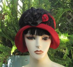 1920s Cloche Hat in Red and Black by Vintage Style Hats by Gail, via Flickr