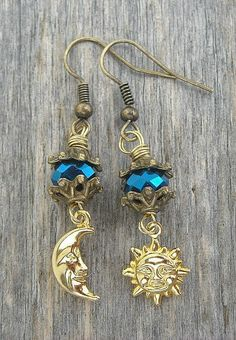 Gold Crescent Moon & Sun Earrings by InkandRoses13