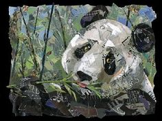 TORN PAPER COLLAGE  panda collage for next family art night