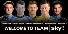 Welcome @ndyfenn, @LeopoldKonig, @nicholasroche, @LPNordhaug & @WoutPoels to Team Sky in 2015!