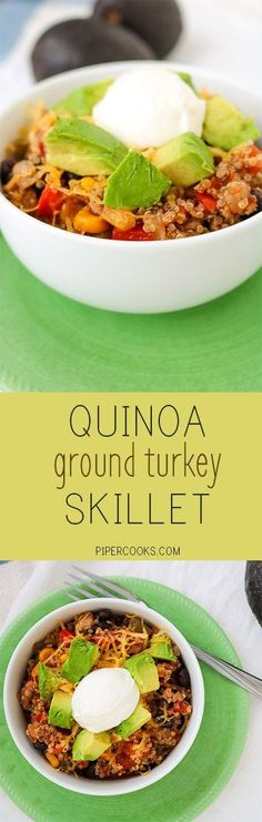 Quinoa Ground Turkey Skillet - Healthy weeknight meal option, quick to get on the table. Recipe from @pipercooks | PiperCooks.com