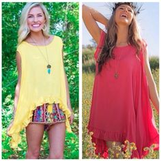 Love these New ruffled swing tops that arrived in this gorgeous yellow, coral, and also mint. S/m, m/lg. $62.  Tula J Boutique is a trendy boutique in Trussville, AL that carries ladies and tween clothing, purses, shoes, jewelry, accessories, and more! Call (205) 655-5333 or stop by TODAY if you'd like to buy this item!
