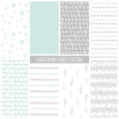Hand Drawn Digital Paper: Tribal, Geometric, Doodles; Seamless Patterns; Printable Scrapbook Paper; Web & Print Background; Mint and Gray by nubeDigitalPapers