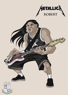 Play in a band Robert Trujillo, Ozzy Osbourne, Metal Drawing, Metallica Art, Rock Y Metal, Heavy Metal Rock, Extreme Metal, Rock Posters, Thrash Metal