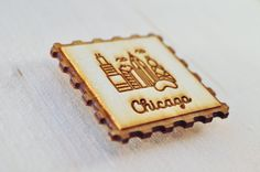 Chicago Stamp Magnets  | Chicago, Illinois souvenirs | Little wood etch magnets