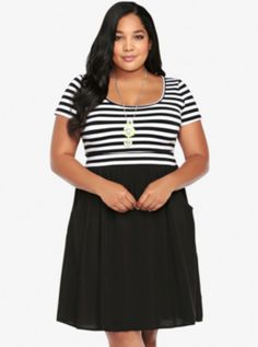This #Torrid Striped Knit-To-Woven Dress is so cute, I'd pair it with a short denim jacket, sheer natural colored scarf and some camel colored ankle boots, for a great casual autumn look.