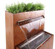 Halton Bepflanzbarer Wasserfall Brunnen Cortenstahl LED-Beleuchtung Kugel Garten