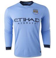 Manchester City FC 2014-15 Season LONG SLEEVE HOME SOCCER JERSEY