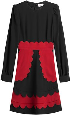 RED Valentino Crepe Dress with Scalloped Detail