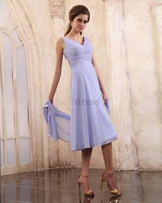 Tea Length Outdoor A-Line Summer Pleated Bodice Sleeveless Simple Mother Of The Bride Dress