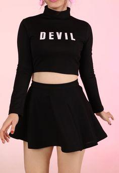 Image of Team Devil Cheerleading Set in Black